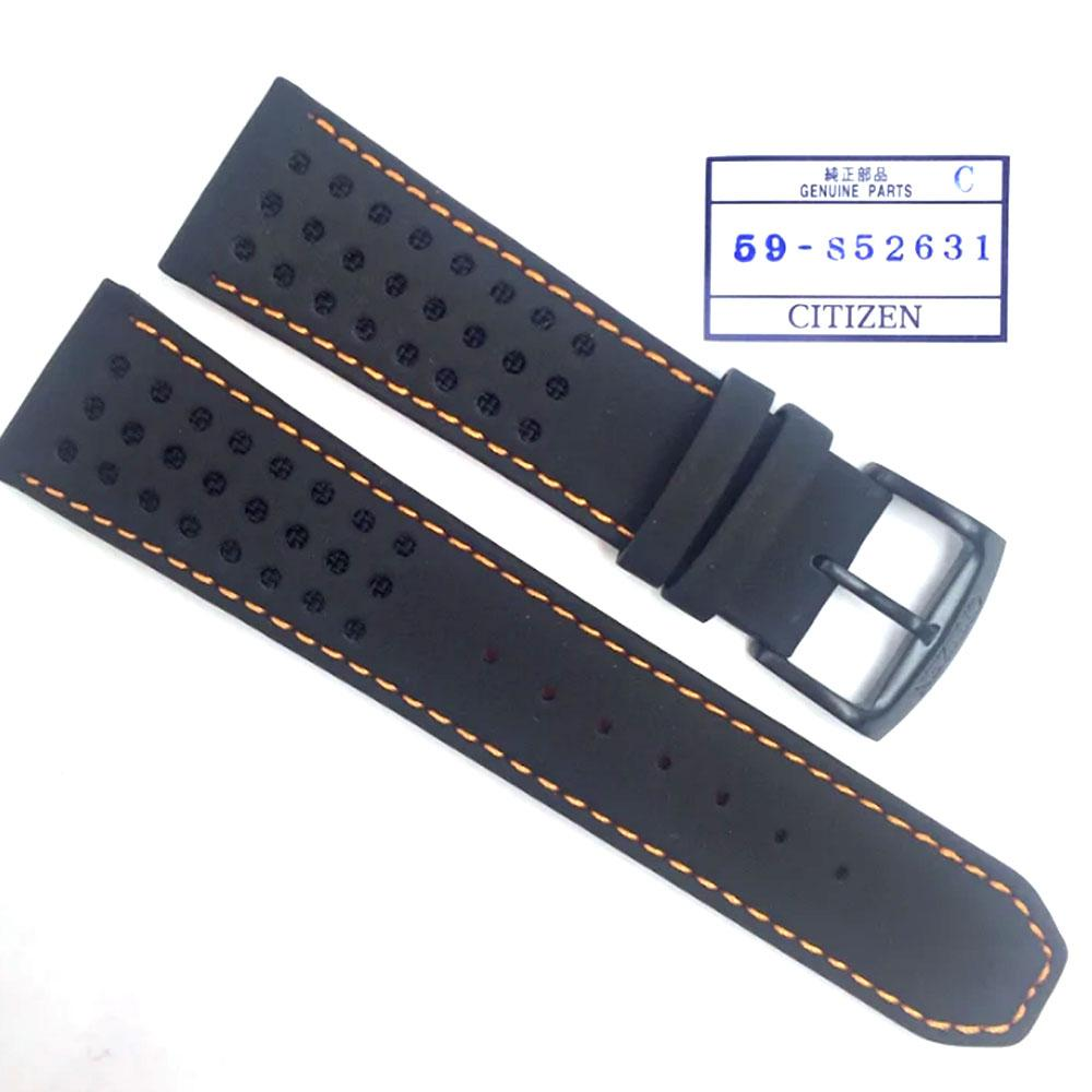 CITIZEN WATCH BAND BLACK W/ ORANGE STITCH 23MM SPECIALTY PART # 59-S52631