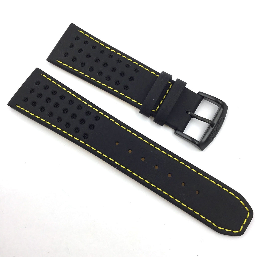CITIZEN WATCH BAND BLACK W/ YELLOW STITCH 23MM SPECIALTY PART # 59-S52633