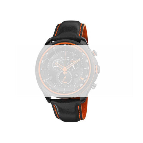 CITIZEN BLACK 22MM LEATHER WITH ORANGE STITCHING WATCH STRAP AT2185