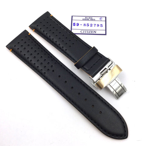 CITIZEN WATCH STRAP BLACK LEATHER 23MM PART # 59-S52795