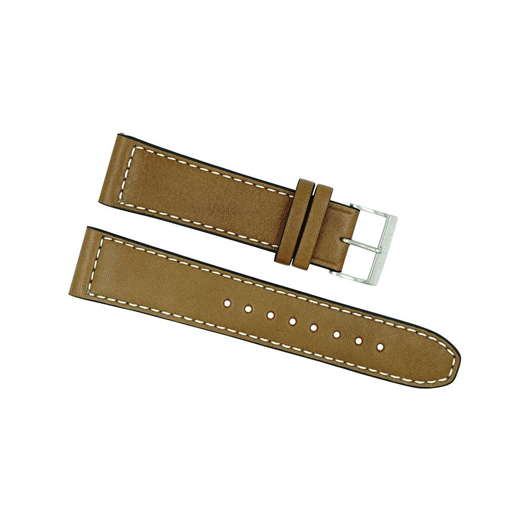 Citizen 22mm Tan Leather Strap with White Stitching