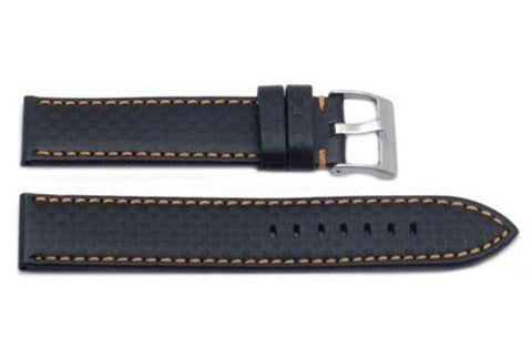 Hadley Roma Carbon Fiber Style Orange Contrast Stitching Watch Strap