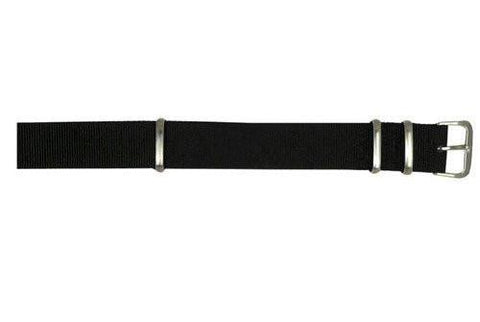 Hadley Roma Black One Piece Nylon Nato Style Watch Band