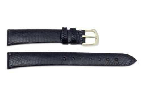Hadley Roma Genuine Black Lizard Flat Elegant Long Watch Strap