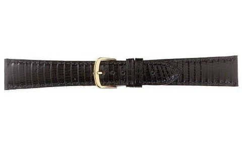 Hadley Roma Cartier Style Genuine Java Lizard Black Leather Watch Strap