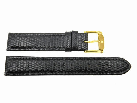 Genuine Movado Black Lizard Grain 15mm Short Watch Strap