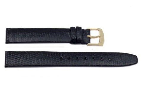 Black Movado Style Genuine Java Lizard Flat 15mm Watch Band