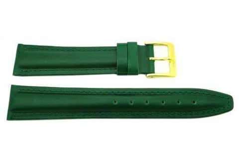 Genuine Padded Leather Green Watch Strap