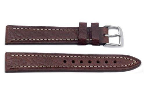 Hadley Roma Shrunken Textured Grain Brown Leather Watch Band