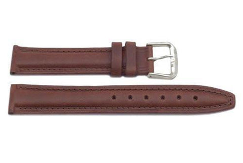 Genuine Smooth Padded Leather Dark Brown Watch Band