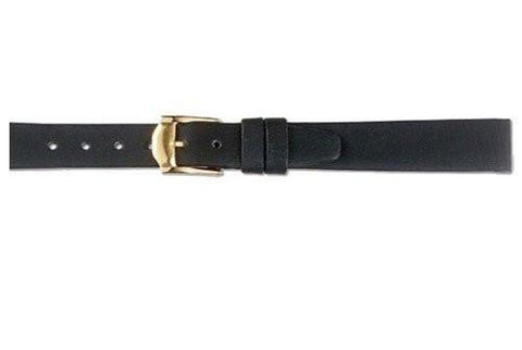 Hadley Roma Genuine Calfskin Movado Style Black Flat Leather Watch Strap