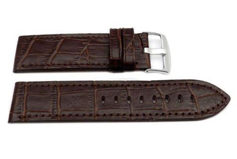 Hadley Roma Brown Panerai Style Alligator Grain Leather 26mm Watch Band