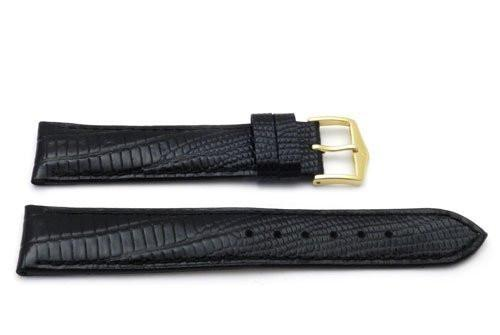 Genuine Textured Leather Lizard Grain Anti-Allergic Black Watch Strap