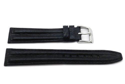 Genuine Textured Sport Leather Anti-Allergic Black Watch Strap