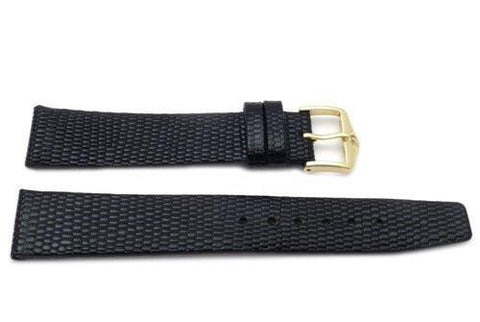 Genuine Textured Leather Lizard Grain Glossy Black Watch Band