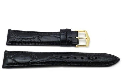 Genuine Textured Leather Crocodile Grain Anti-Allergic Semi-Gloss Black Watch Band