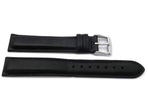 Genuine Textured Leather Anti-Allergic Thick Black Watch Strap