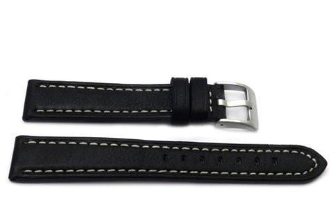 Genuine Textured Sport Leather Anti-Allergic Black Watch Band