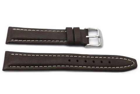 Genuine Smooth Sport Leather Anti-Allergic Brown Watch Strap
