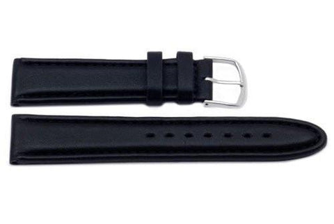 Genuine Smooth Padded Black Leather Watch Strap