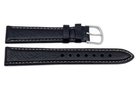 Genuine Textured Semi-Gloss Leather Black Watch Band