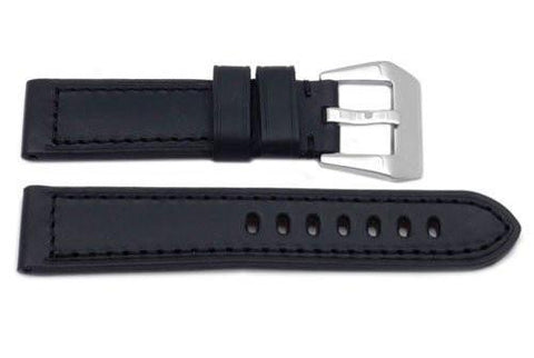 Genuine Heavy Padded Black Leather Panerai Watch Strap