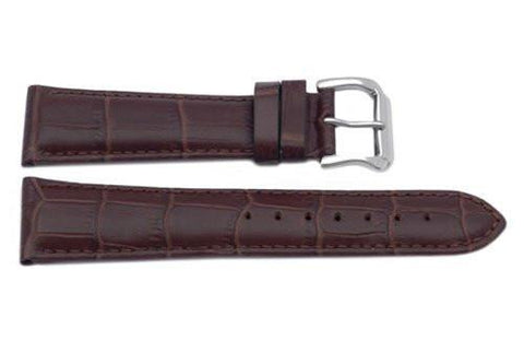 Genuine Square Crocodile Grain Leather Dark Brown Watch Strap