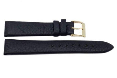 Genuine Textured Black Leather Watch Band