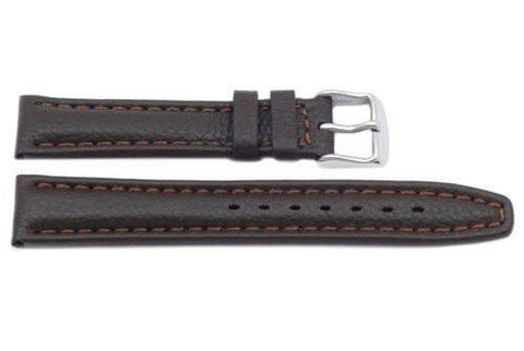 Genuine Dark Brown Textured Leather Watch Strap