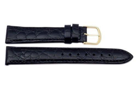 Genuine Leather Round Crocodile Grain Black Watch Strap
