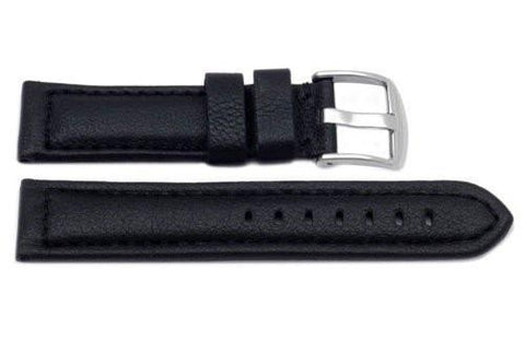 Genuine Heavy Padded Leather Sport Black Watch Strap
