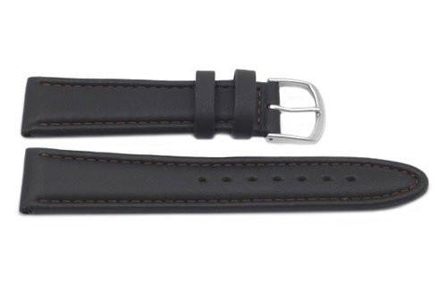 Genuine Smooth Padded Dark Brown Leather Watch Strap