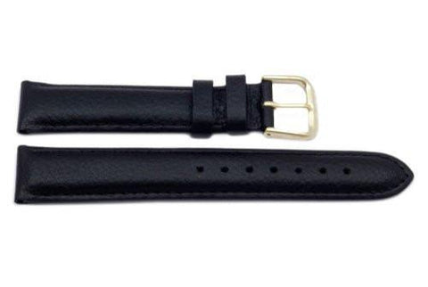 Genuine Textured Soft Leather Black Watch Band