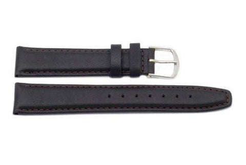 Genuine Smooth Leather Elegant Dark Brown Watch Band