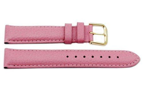 Genuine Textured Leather Pink Padded Watch Strap