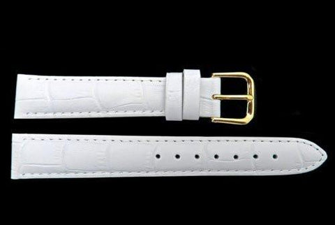 Genuine Leather Square Crocodile Grain White Watch Band