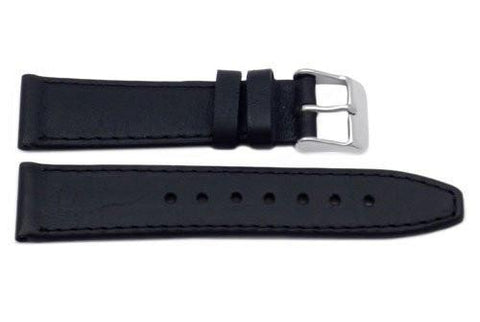 Genuine Smooth Leather Movado Style Short Black Watch Band
