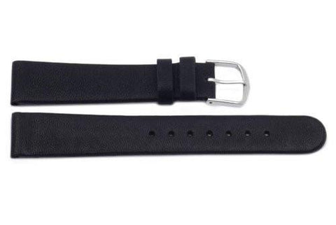 Genuine Smooth Flat Leather Black Watch Band