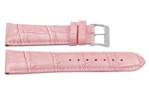 Genuine Square Crocodile Textured Leather Pink Watch Strap