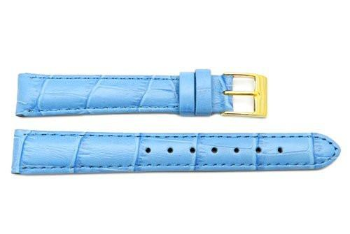 Genuine Square Crocodile Textured Leather Light Blue Watch Strap