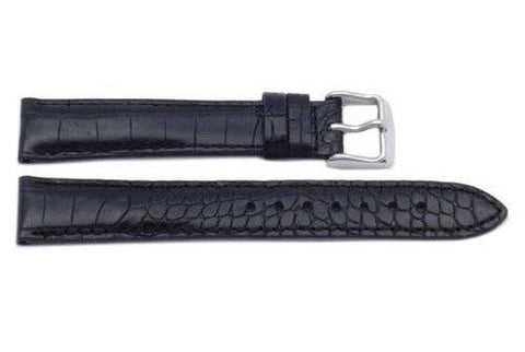 Genuine Alligator Grain Leather Black Watch Strap