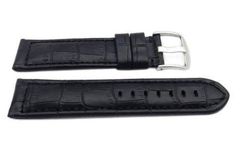 Genuine Leather Alligator Grain Black Matte Long Watch Strap