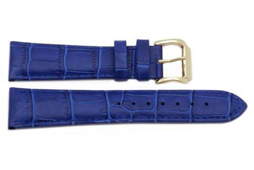 Genuine Square Crocodile Textured Leather Blue Watch Strap