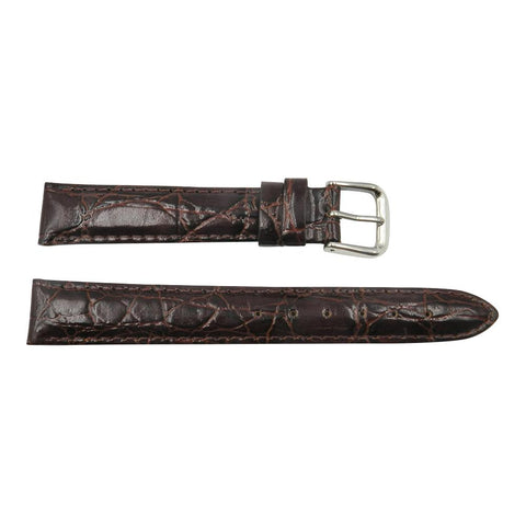 Genuine Leather Crocodile Grain Chestnut 16mm Watch Strap