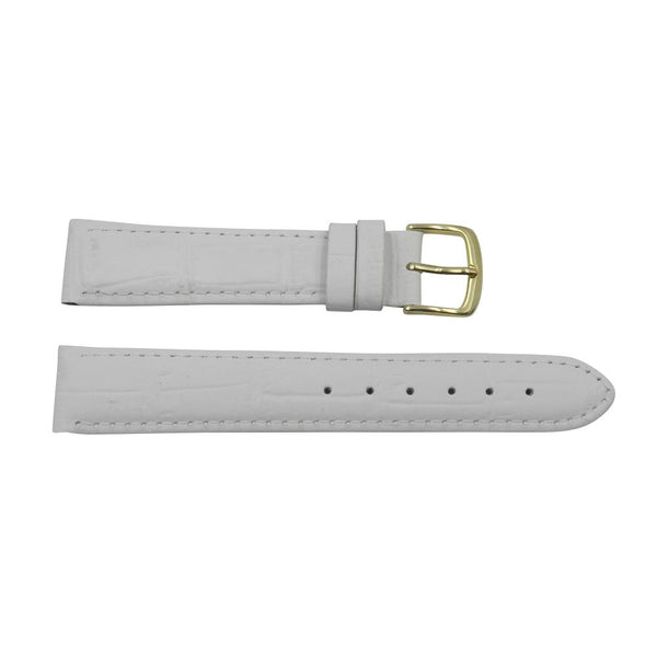 b99f962b2 Genuine Leather Alligator Grain Pastel White Watch Strap