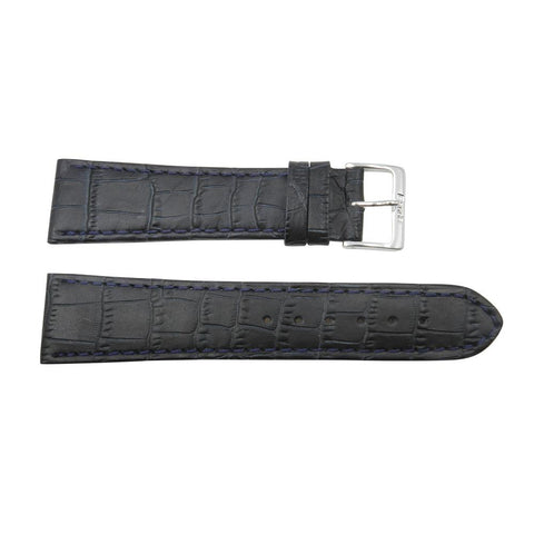 24mm Genuine Leather Alligator Grain Long Blue Watch Band