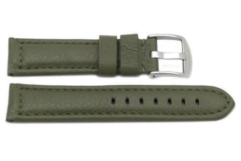 Genuine Heavy Padded Leather Sport Olive Long Watch Strap