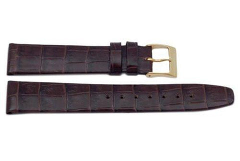 Genuine Square Crocodile Grain Leather Dark Brown Watch Band