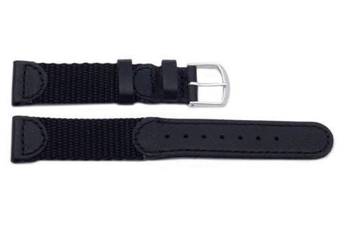 Genuine Leather and Nylon Swiss Army Style Black Watch Band