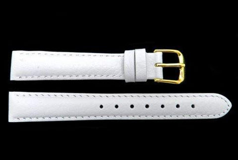 Genuine Textured Leather Grain White Watch Strap